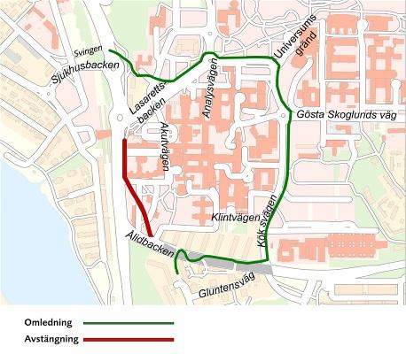 Avstangda Gang Och Cykelvagar Pa Norrlands Universitetssjukhus